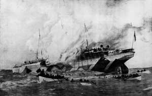 A contemporary drawing of the Leinster sinking.