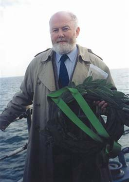 Philip Lecane on the bow of L.E. Aoife.