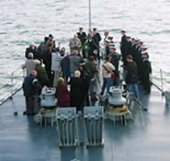 10 October 2003 Commemorations on board the L.E. Aoife at the site of the R.M.S. Leinster wreck.