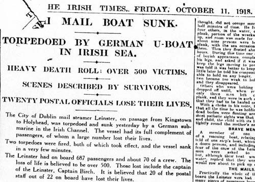 The Irish Times - October 11, 1918 - clipping on the Leinster singking